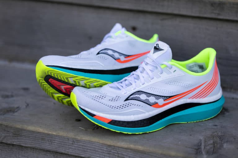 photo of bright running shoes with extra support on heel