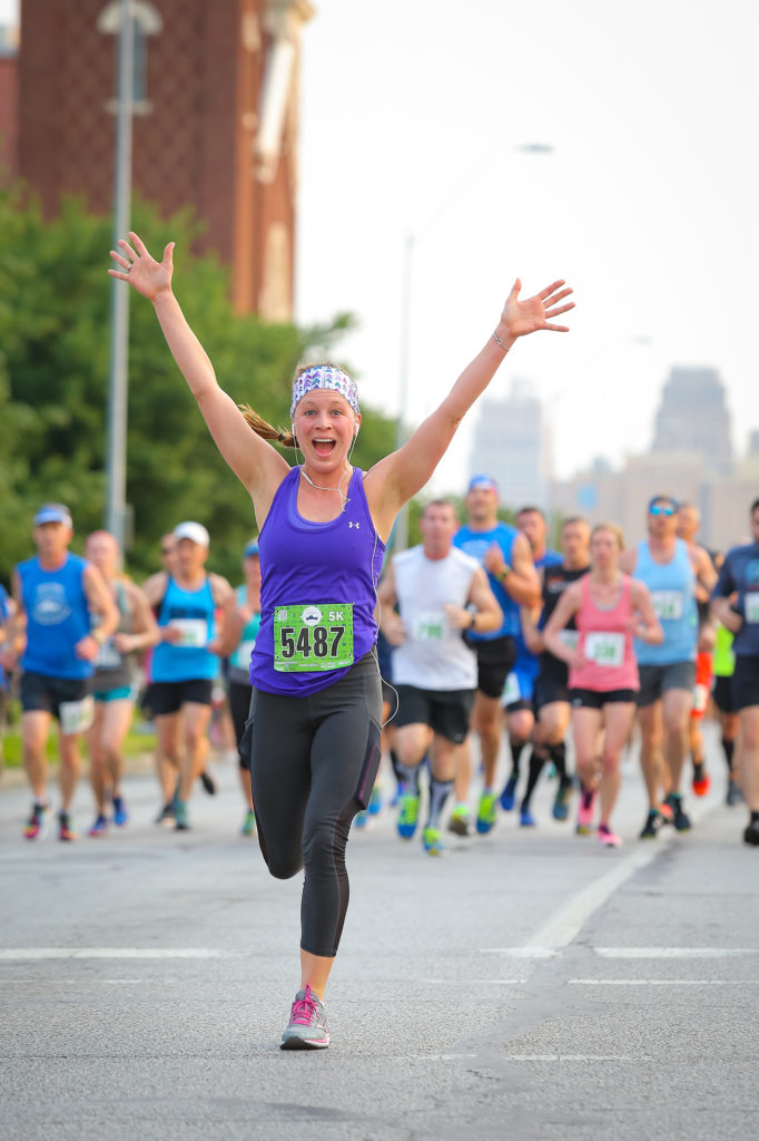 Woman running in the couch to 5k training program