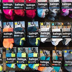 Several different styles of balega running socks