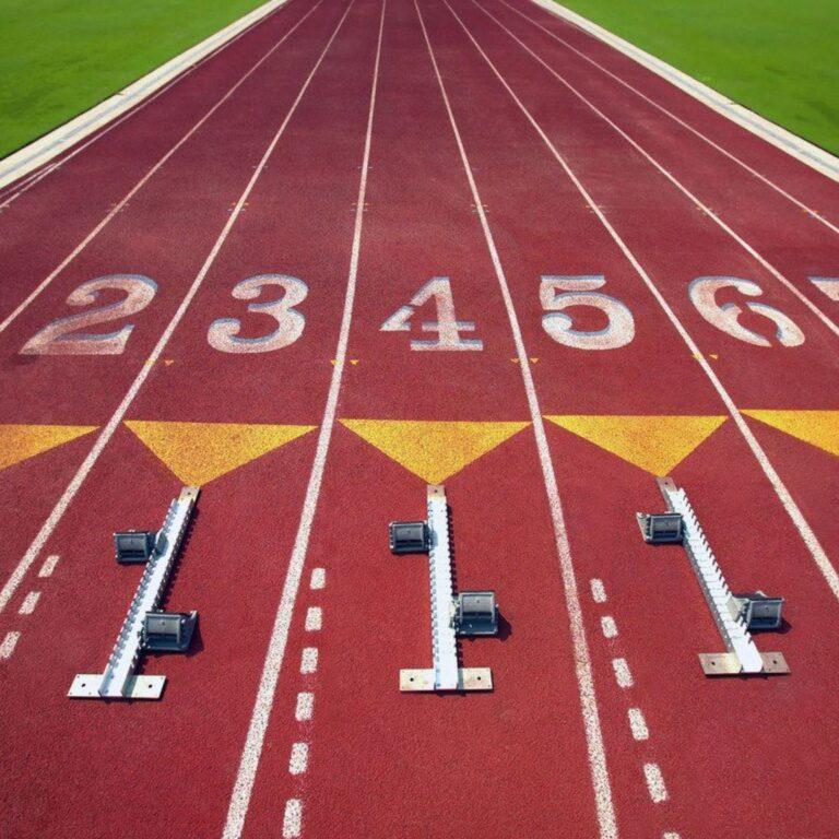 Start line on a track field